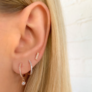 Diamond Rose Bar Stud Earrings