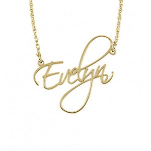 Gold Calligraphy Font Name Necklace - Alexandra marks jewelry