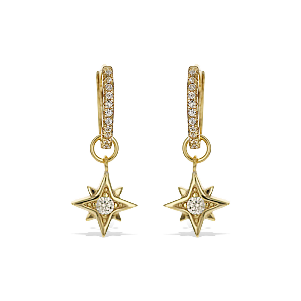 Load image into Gallery viewer, Alexandra Marks | Gold Celestial CZ Charm Huggie Hoop Earrings