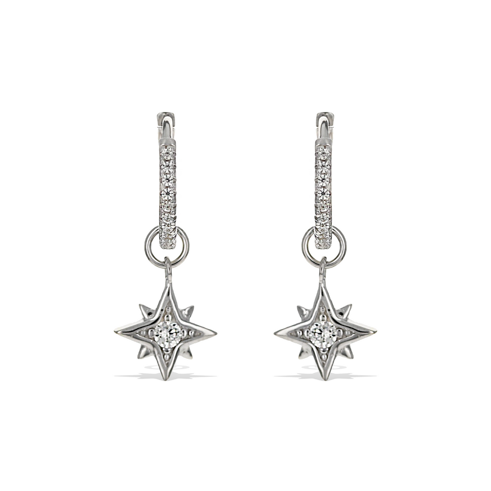 Alexandra Marks | Sterling Silver Star Removable  Charm CZ Hoop Earrings