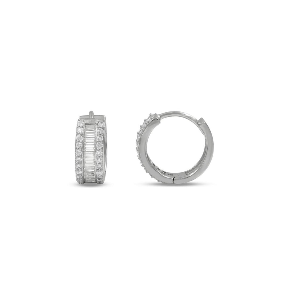 Huggie Hoops feature a row of round brilliant cz stones that serve as a halo to the baguette cz stones in the center