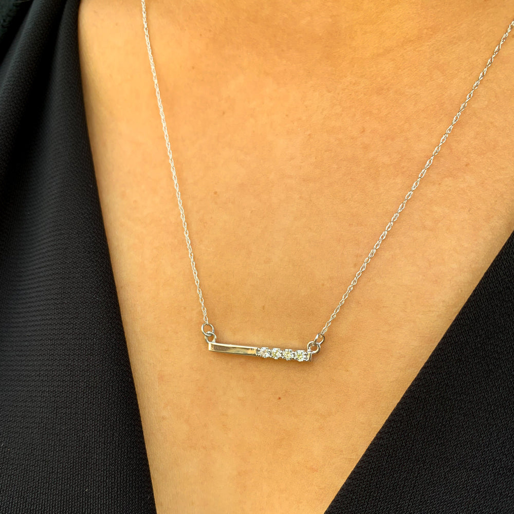 Load image into Gallery viewer, Small diamond bar white gold necklace from alexandra marks jewelry