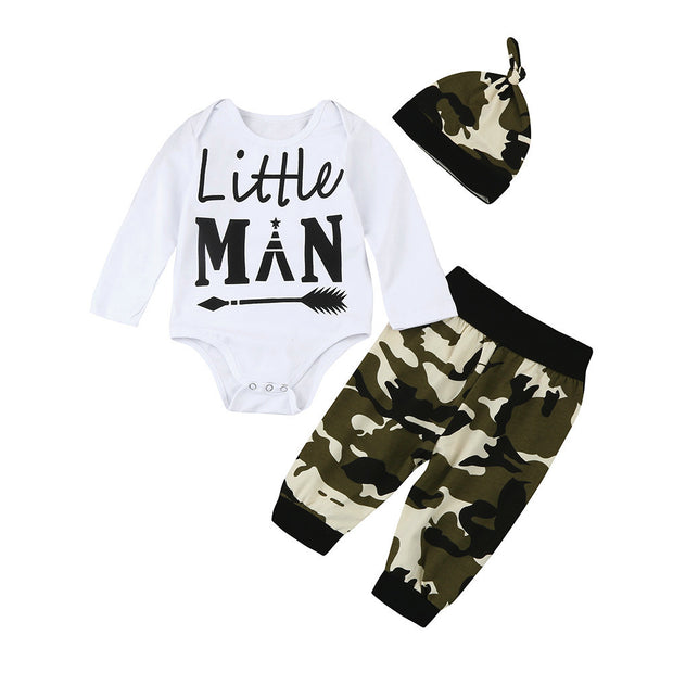 Baby Boy Letter T-Shirt Romper + Camouflage Pant Set