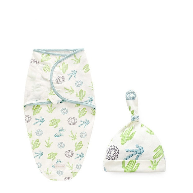 Newborn 2 Piece Swaddle Blanket and Hat For 0-6 M