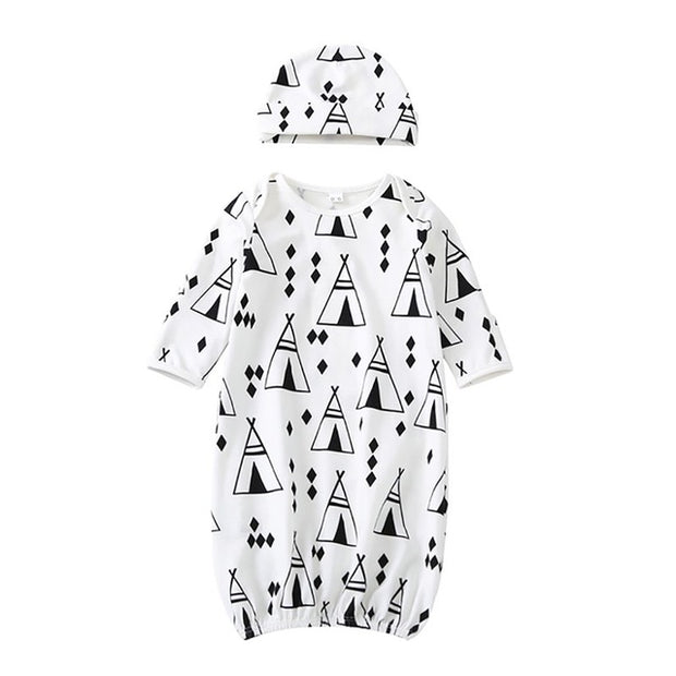 Cotton Casual Baby Pajamas Set Long Sleeve Print Night Gown + Hat 2Pcs