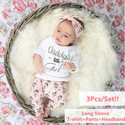 3PCS Daddy's Little Girl Infant Toddlers -shirt+Pants+Headband Clothing Set