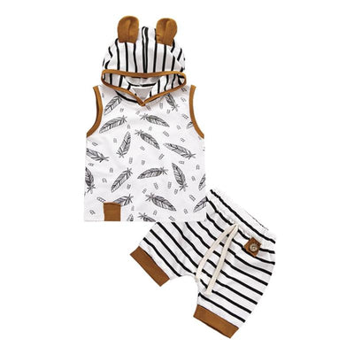 Baby Boy Sleeveless Hooded 2pcs Top and Pant Set