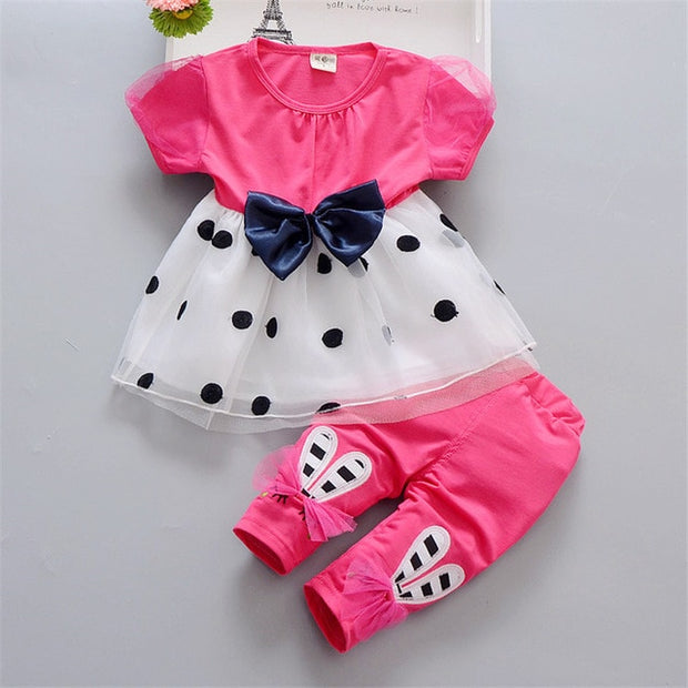 Baby Girls Super Cute Polka Dot Bow Tie Dress and Trousers