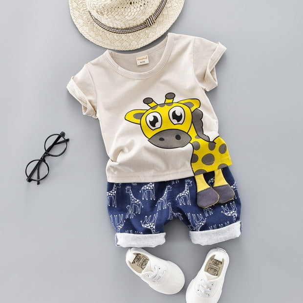 Baby Clothing Set for Boys Girls Giraffe Top Blue Shorts