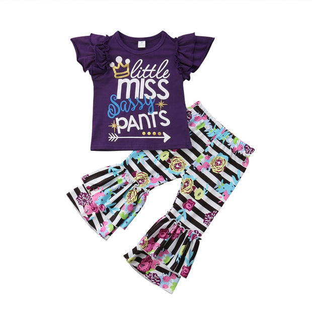 Little Miss Sassy Pants Girls Striped Ruffle Flared Pants and Top 2Pcs