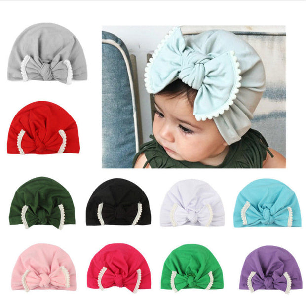 Newborn Solid Bow knot Beanie Hat