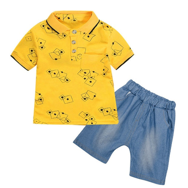 Baby Boy Little Gentleman Geometric Shirt Print Denim Shorts 2PC