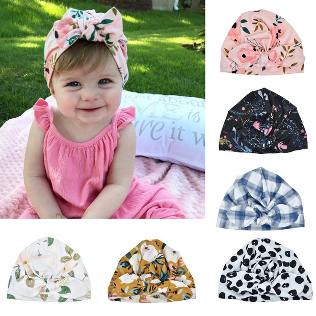 Newborn Baby Girl Boy Bow Knot Sun Hat 0-24m