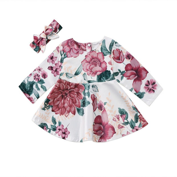 Baby Girls Floral Long Sleeve Dress +Headband 2pcs Outfit 3-24 Month