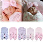Cute Baby Girl Boy Bow knot Warm Beanie Hat Sizes 0-24m