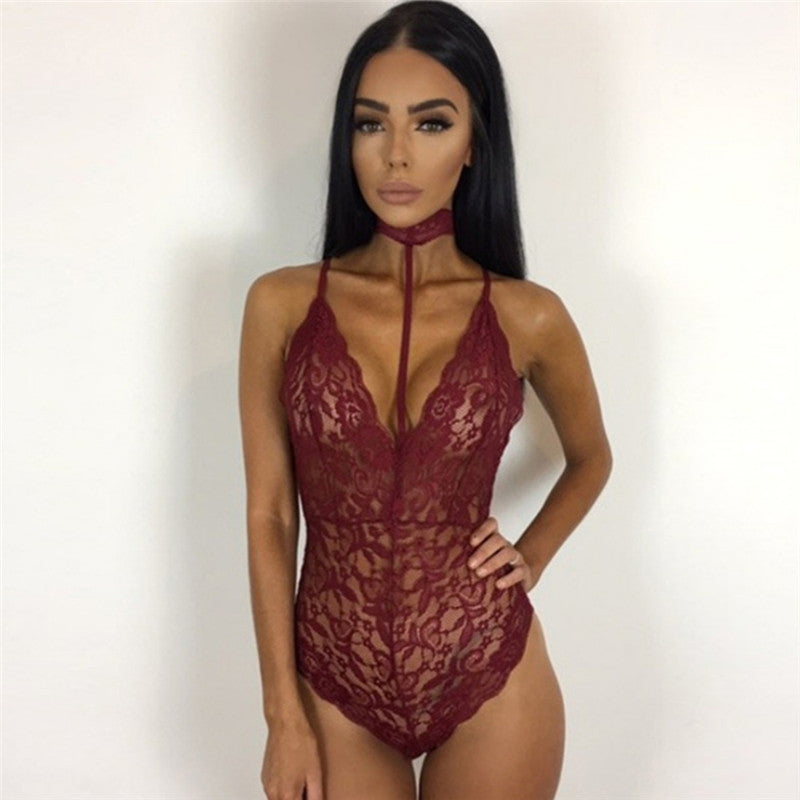 26cf4fbbc90 ... Sexy Transparent Swimwear Women One Piece Lace Swimsuit Bathing Suit  Swim Suit red Bodysuit Black Monokini ...