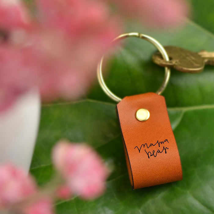 Mama Bear Leather Keychain by Laurel Denise