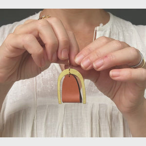 Load and play video in Gallery viewer, Oversized Modern Leather Earrings