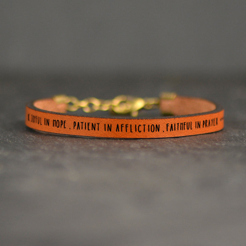 Be Joyful in Hope...(Romans 12:12) - Leather Bracelet