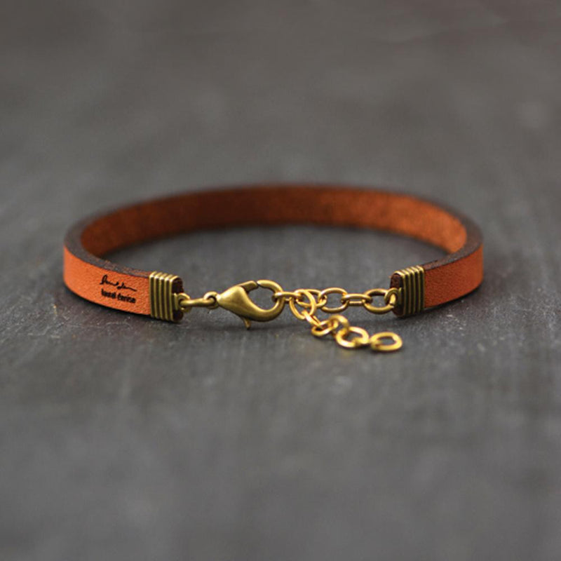 Miles Apart But Close To The Heart - Leather Bracelet