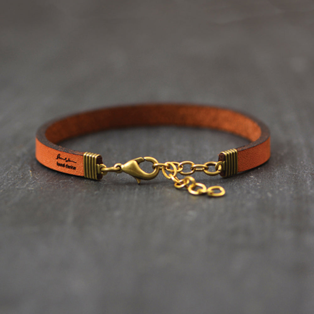 Load image into Gallery viewer, Be Strong and Courageous (Deutoronomy 31:6) Scripture Leather Bracelet by Laurel Denise