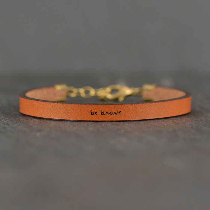 Be Brave - Inspirational Leather Bracelet by Laurel Denise