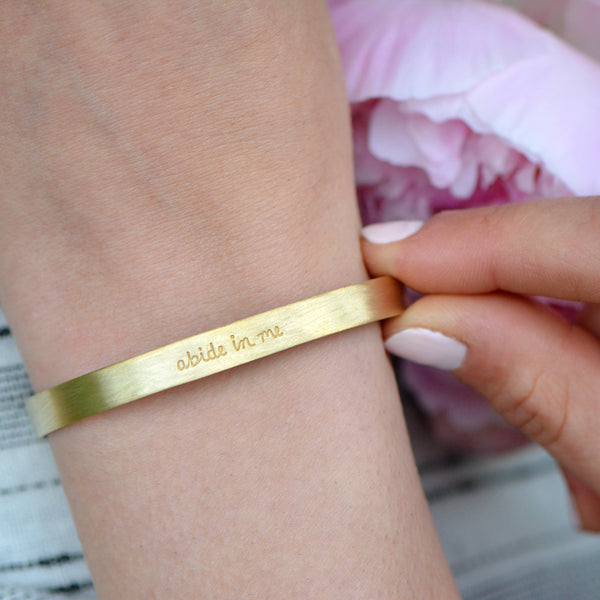 Abide In Me - Stamped Brass Metal Cuff