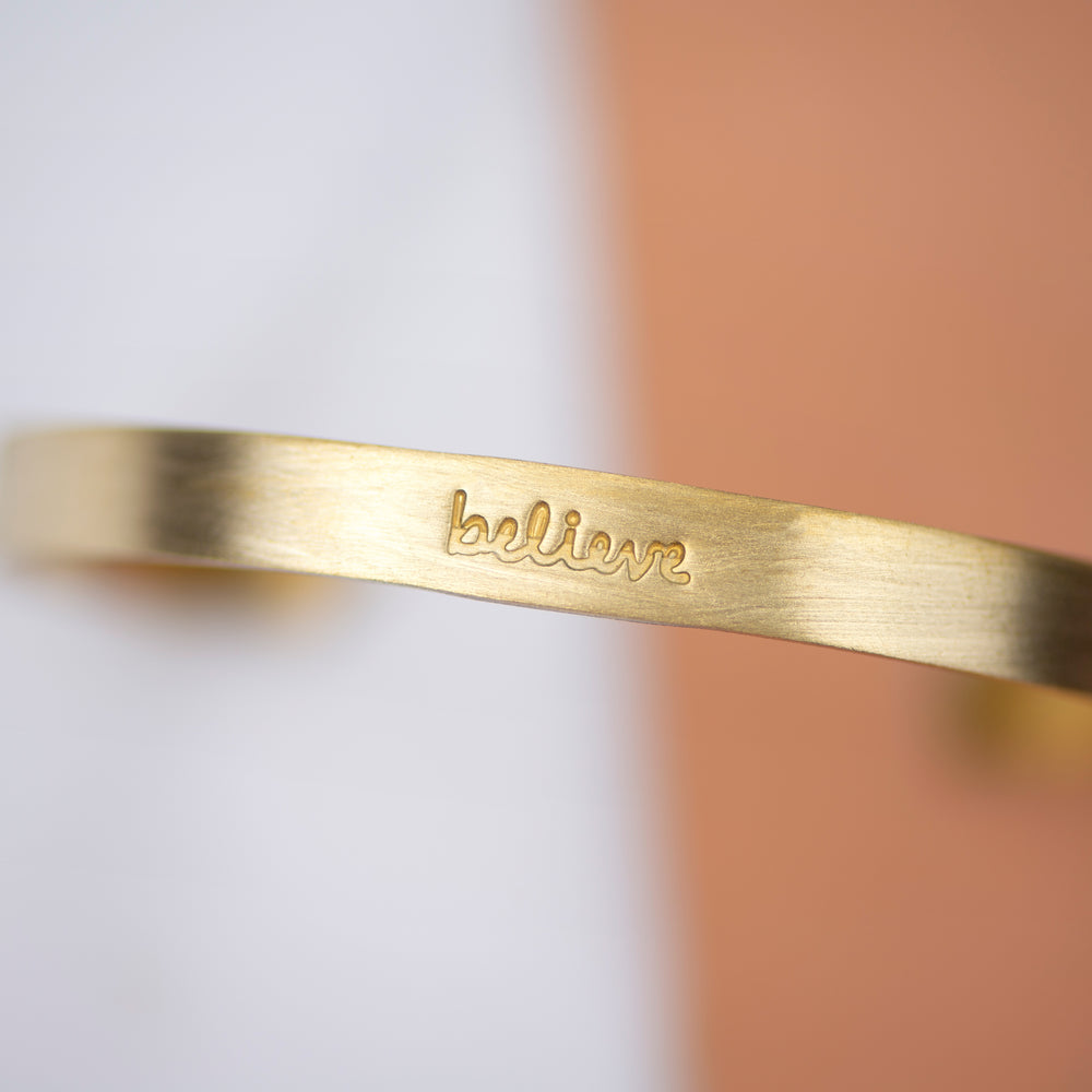 Load image into Gallery viewer, Believe - Brass Cuff