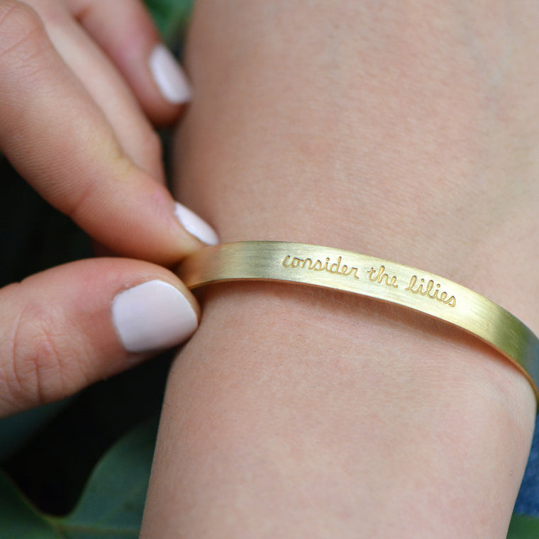 Consider The Lilies - Stamped Brass Metal Cuff