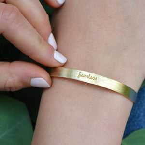 Load image into Gallery viewer, Fearless - Brass Cuff