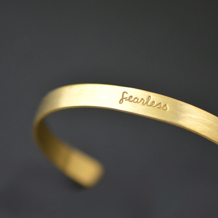 Fearless - Stamped Brass Metal Cuff