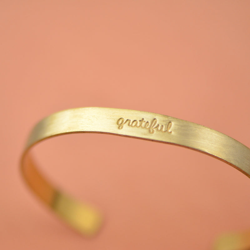 Grateful Brass Bracelet - Teacher Appreciation Jewelry by Laurel Denise