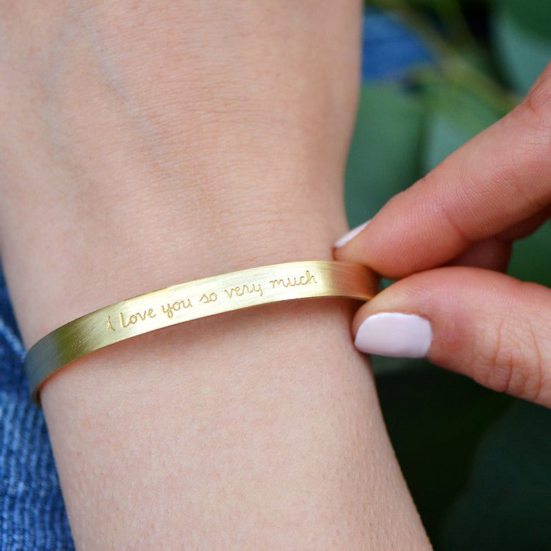 I Love You So Very Much - Stamped Brass Metal Cuff