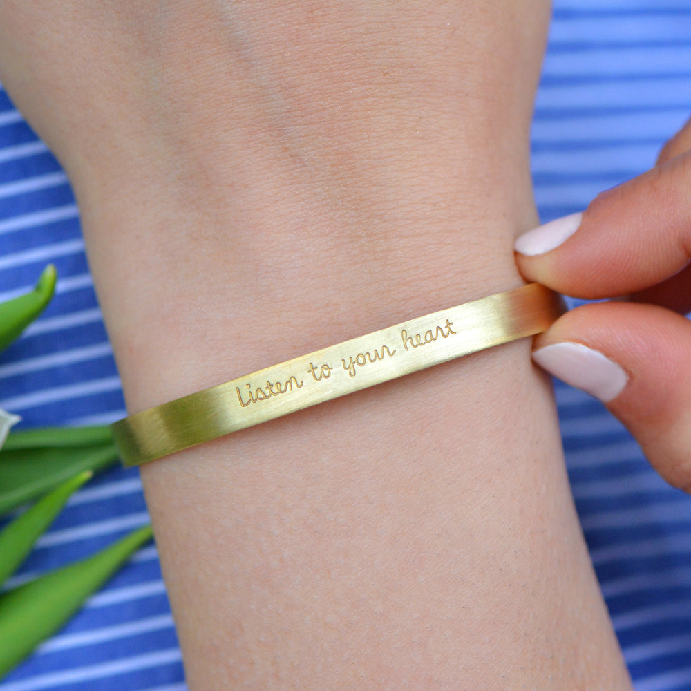 Load image into Gallery viewer, Listen To Your Heart - Brass Cuff