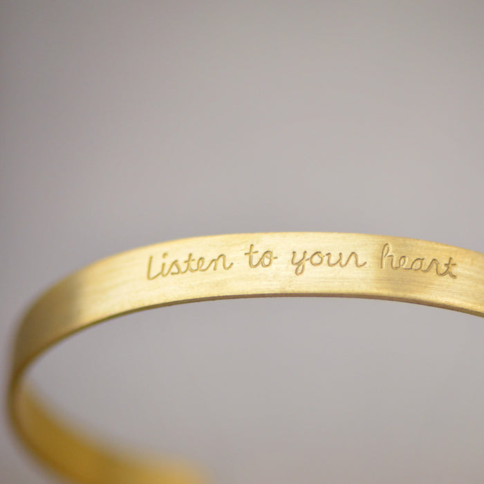 Listen To Your Heart - Stamped Brass Metal Cuff