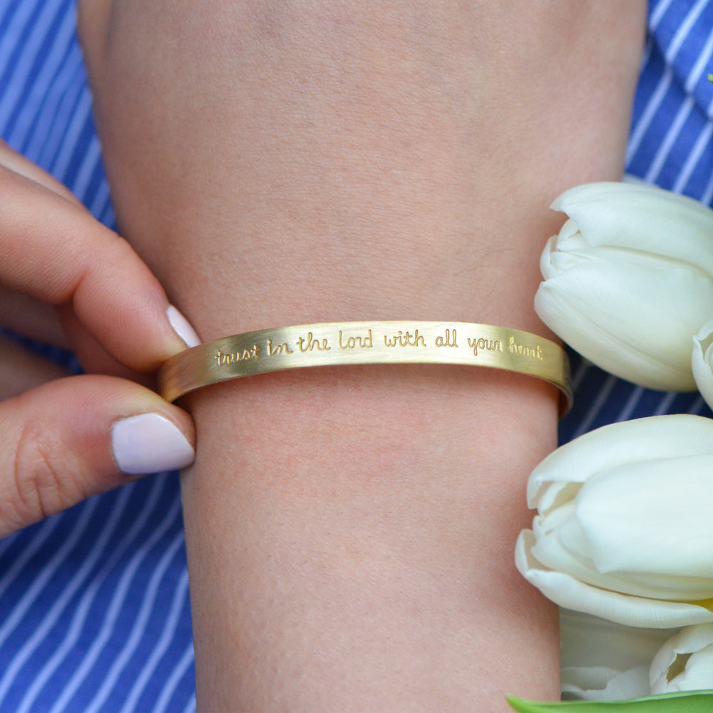 Trust In The Lord With All Your Heart (Proverbs 3:5) - Brass Cuff