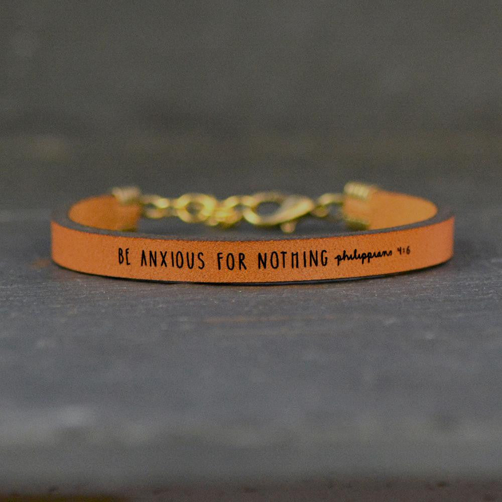 Be Anxious For Nothing (Philippians 4:6) - Leather Bracelet - laurel denise