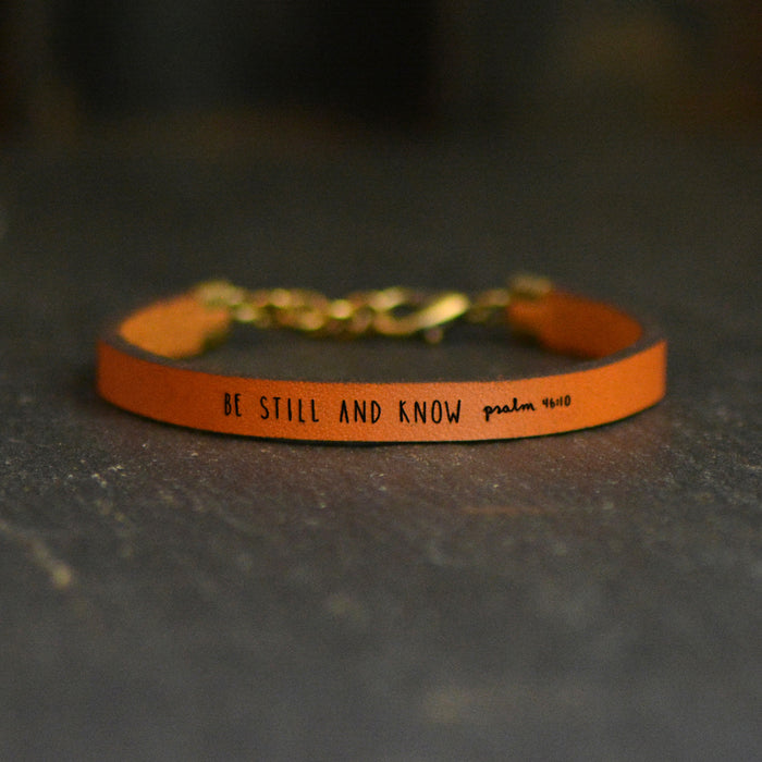 Be Still and Know (Psalm 46:10) - Scripture Leather Bracelet