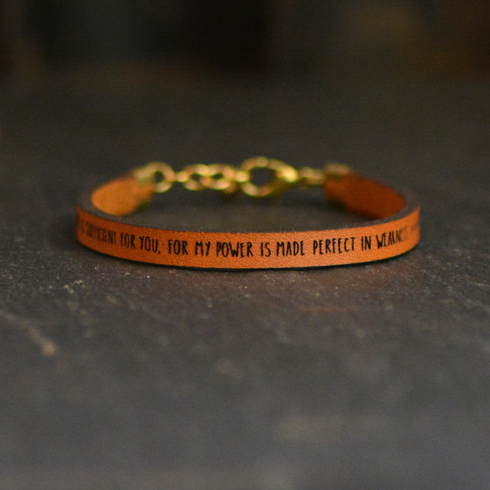 My Grace is Sufficient For You - 2 Corinthians 12:9 - Leather Bracelet