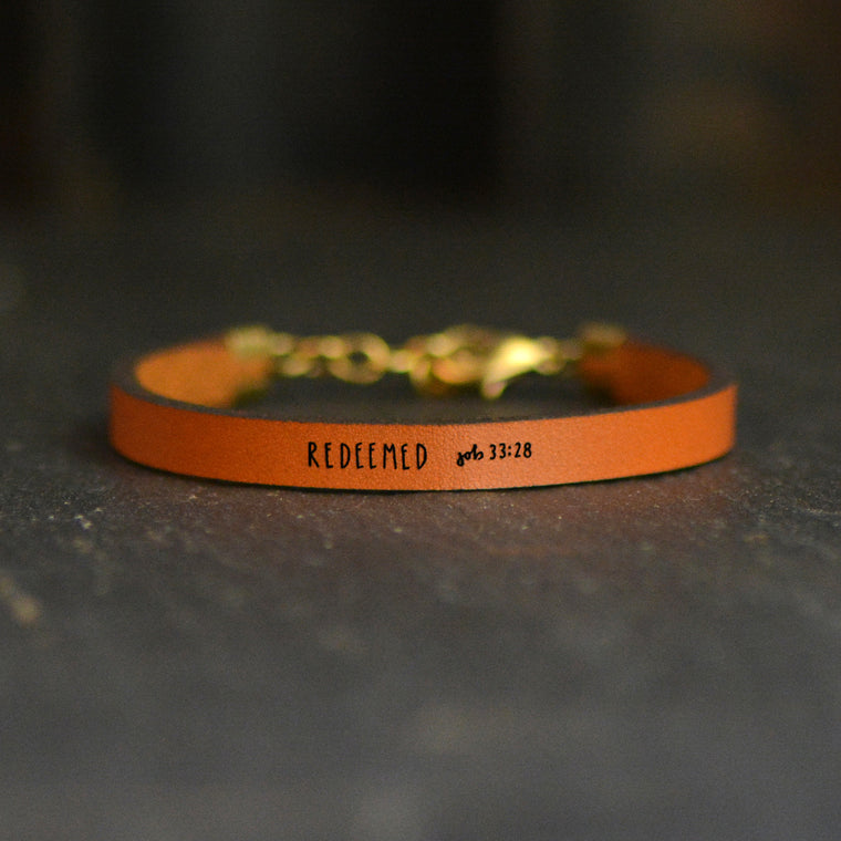 Redeemed (Job 33:28) - Leather Bracelet
