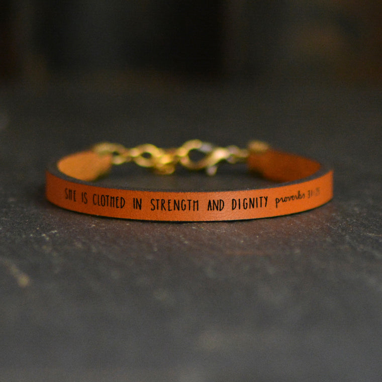 She Is Clothed in Strength and Dignity (Proverbs 31:25) - Leather Bracelet