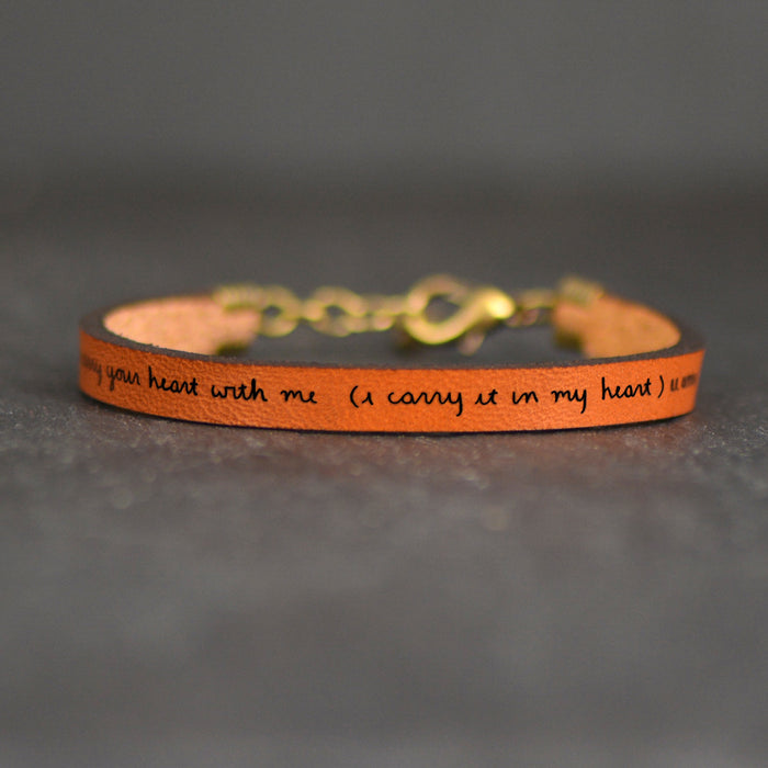 I carry your heart (I carry it in mine) EE Cummings Leather Bracelet - Poetry Jewelry