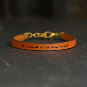 She Believed She Could So She Did Engraved Leather Bracelet