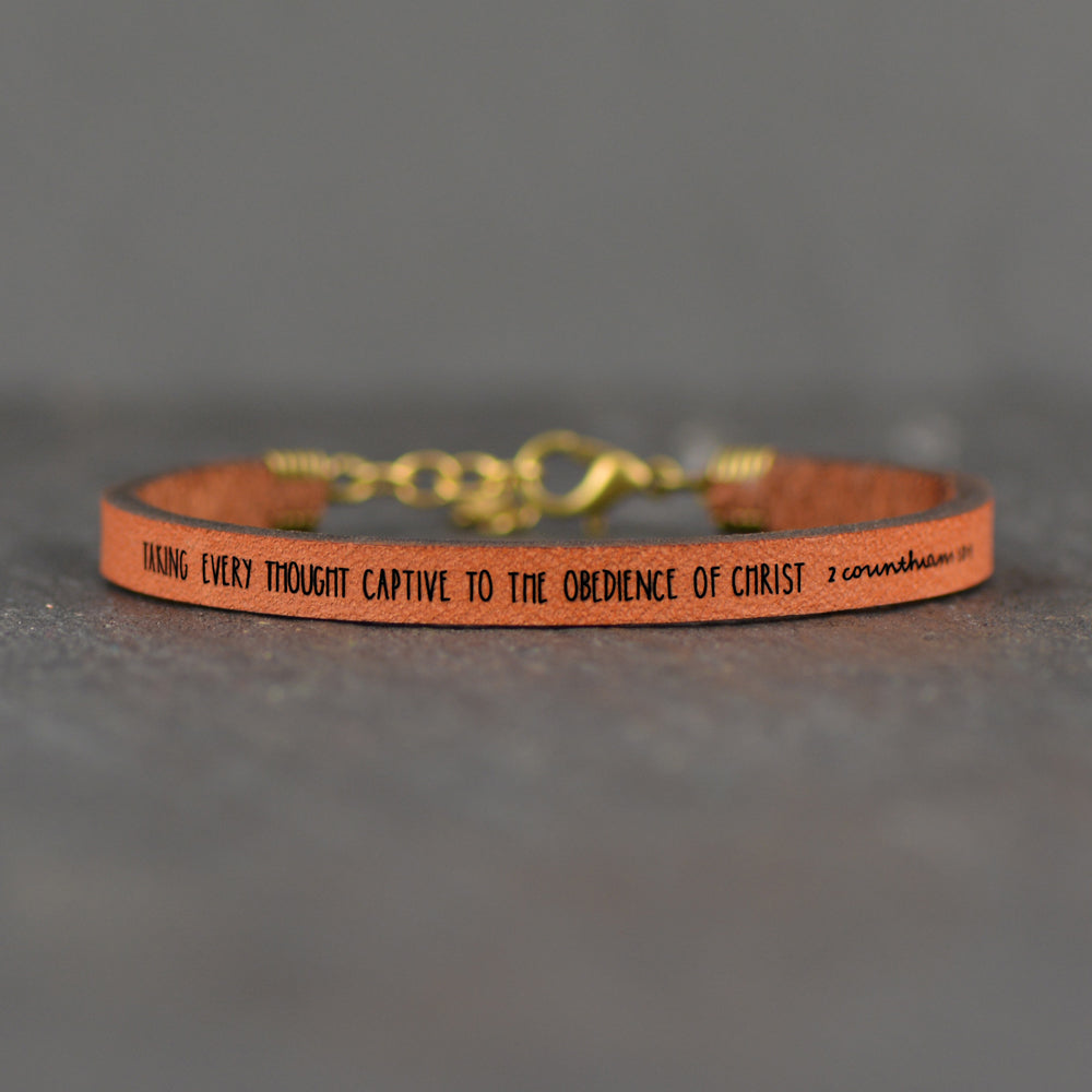 Taking Every Thought Captive... - 2 Corinthians 10:5 - Leather Bracelet