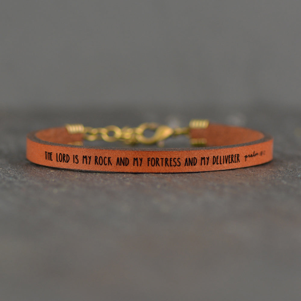 The Lord is My Rock... - Psalm 18:2 - Leather Bracelet