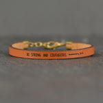 Be Strong and Courageous (Deuteronomy 31:6) - Leather Bracelet