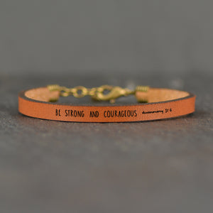 Be Strong and Courageous (Deutoronomy 31:6) Scripture Leather Bracelet by Laurel Denise