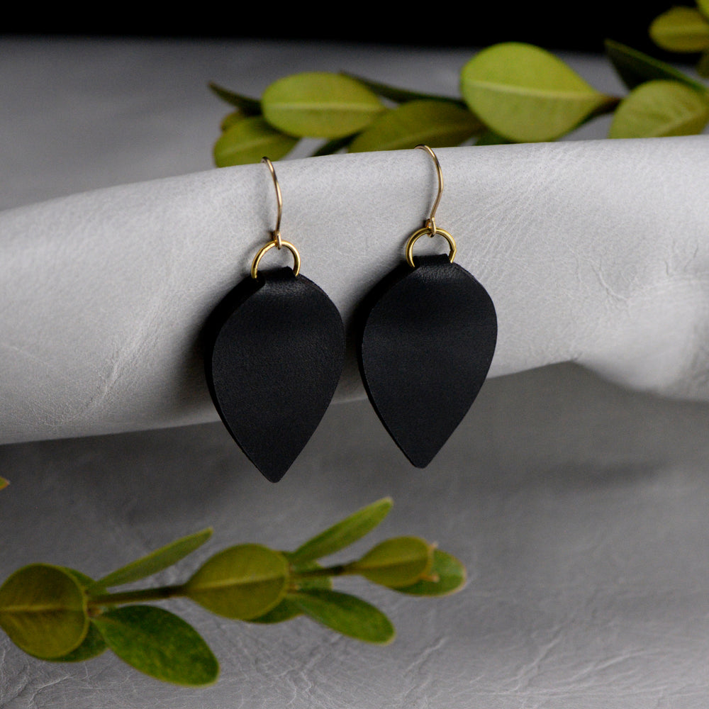 Modern Fold Teardrop Leather Earrings