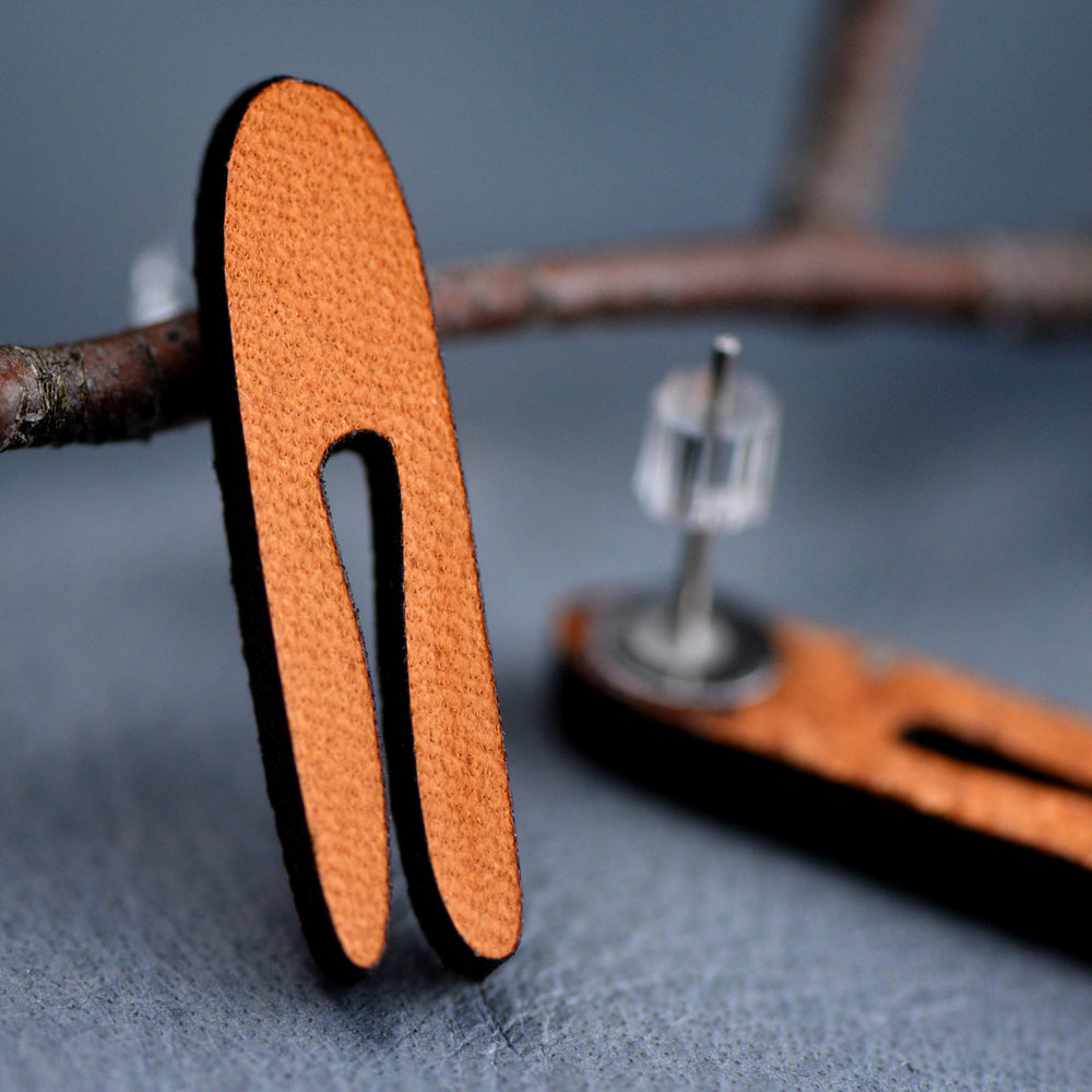 Skinny Modern Leather Earrings