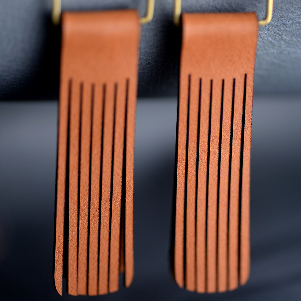 Boho Drop Fringe Leather Earrings